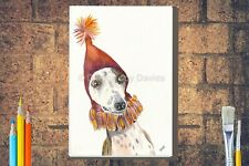 More details for funny whippet in party hat canvas a4 a3 a2 a1 dog birthday, mothers day gift