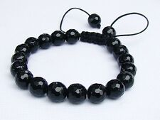 Men's Shamballa bracelet all 10mm round Crystal Black Jet beads