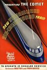 """Vintage Illustrated Travel Poster CANVAS PRINT New Haven Comet Train 24""""X18"""""""