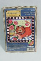 Cross Stitch Kit Kitty And Flowers Janlynn Simplicities New