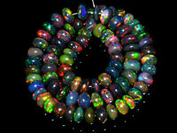 US- Ethiopian Opal Black Gemstone Rondelle Smooth Loose Beads Strand Necklace