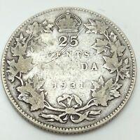 1931 Canada 25 Twenty Five Quarter Circulated Canadian Coin D502