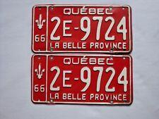 1966 QUEBEC Vintage License Plate PAIR # 2E-9724