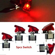 12V 20A 5Pcs Car Truck Red Cover LED Light Rocker Toggle Switch SPST ON/OFF Kit