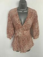 BNWT WOMENS TOPSHOP BROWN&WHITE PATTERN V NECK CASUAL BLOUSE SHIRT SIZE UK 8