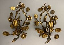 Vintage Italian Gilded Metal Roses Toleware Candle Wall Sconces