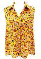 Pleione Womens Mustard Floral Print Sleeveless Hi Low Blouse Top Size Medium NWT