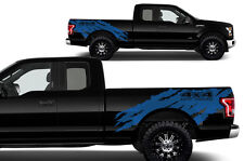 Vinyl Decal Graphics Wrap Kit for Ford F-150 2015-17 Truck 4X4 OFFROAD TORN Blue