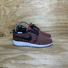 Nike Roshe One Flyknit Shoes (704927-008), Women's size 5.5, Anthracite/Orange