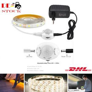 1-5 Meter LED Stripe mit PIR Bewegungsmelder Streifen Band Lichtband Netzteil EU