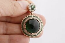 Turkish Handmade Hurrem Big Round Emerald Topaz 925 Sterling Silver Pendant