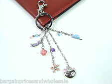 Pretty Kitty Silver Cat Purple/Pink Rhinestone Keyring Charm Handbag Keychain