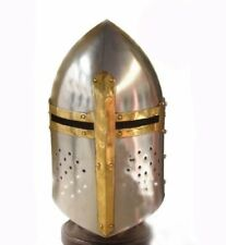 Medieval-Sugarloaf Crusader Helmet 18g Knight's Helm Sugar Loaf Leather Liner