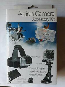 SUNPAK 3pc Action Camera Accessory Kit. Head & Tripod Mount, Suction Cup & Pouch