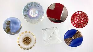 Mixed Lot of 7 Glass Garment Button .75in Various Patterns Shapes 292B
