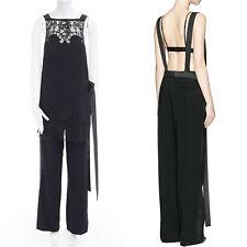 GIVENCHY TISCI black open back floral lace trimmed apron front jumpsuit FR36 S