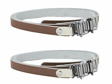 Pair of  Bike Pedal Replacement Cycle Toe Clip Straps Brown Leather