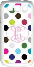 One Initial Monogrammed Multicolor Polka Dot Design Samsung Galaxy S3 Case Cover