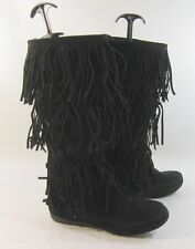Black Flat Round Toe Frill Mid-Calf Boot Size 5.5