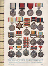 1932 PRINT ~ MEDALS DOUBLE SIDED ~ MILITARY KABUL CHINA NAVAL CAMPAIGN