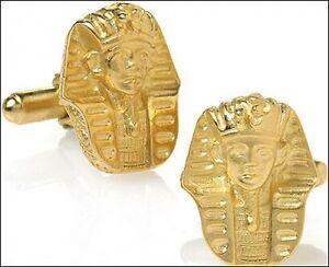 King Tut Cufflinks in 24k Gold-plate Men's Egyptian Cufflinks Men's Jewelry *New