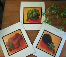 3 Vintage WILL RAFUSE Prints Kitchen Vegetables Food Eggplant Artichoke Pepper