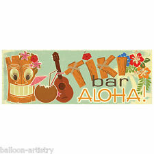 56cm Tropical Tiki Bar Party ALOHA! Plastic PVC Sign Banner Decoration