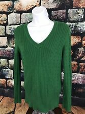 Tommy Hilfiger Womens Sweater Size Medium Green V Neck Pullover Cable Knit