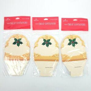 12~Vintage Hallmark Christmas Treat Containers Gift Box Party Bag Mistletoe NEW