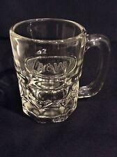 VINTAGE A & W ROOT BEER GLASS MUG HEAVY EMBOSSED OVAL LOGO 8 OZ