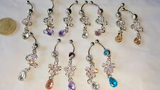Joblot of 12 Surgical Steal & Diamante Belly Bars - NEW Wholesale lot A2