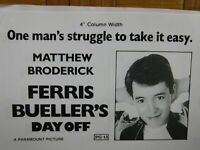 FERRIS BUELLER'S DAY OFF Movie Mini Ad Sheet Vintage Advertising Poster Film