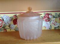Vintage Depression Pink Satin Glass Biscuit Jar