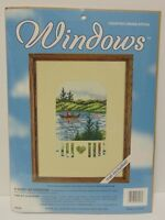 New Vtg 1990s JCA Windows QUIET AFTERNOON Counted Cross Stitch CANOE ROWING LAKE