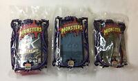 3 SEALED Universal Monsters Burger King figures~Dracula,Wolf Man,Black Lagoon
