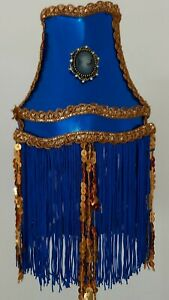 STUNNING CLIP ON  BESPOKE  LAMPSHADE IN BLUE & GOLD UNIQUE 2 LEFT
