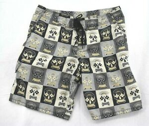 Old Navy ON Mens Skull Board Shorts Sz 38 Day of the Dead Polyester Lightweight