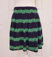 J Crew Beanstalk Strip Skirt 4 Silk Navy Blue Green Lined Pleated Above Knee