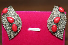 Victorian Look 925 Silver Studs Earring 4.70cts Rose Cut Diamond Coral Antique