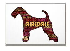 More details for airedale terrier art print word art a4 a3 mothers day gift personalised option