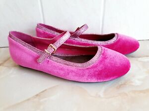 Next Cerise Pink Genuine Suede Flat Shoes With Buckle Strap Size 3