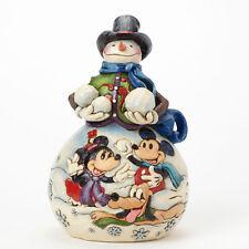 Jim Shore Disney Traditions Snowman w/Mickey Minnie & Pluto Figurine ~ 4039037