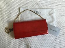 Christian Dior Red Patent Clutch Handbag Purse Gold Chain White Dust Bag
