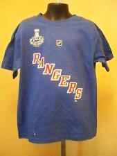 New-Minor-2014 Stanley Cup Rangers #30 Lundqvist Kids Medium 5/6 Blue Shirt