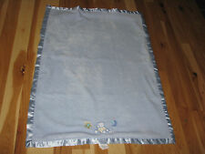 NOJO BLUE BEAR MOON STAR BLANKET BABY BOY SATIN SECURITY LOVEY MINKY VELBOA