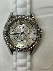 Fossil Women's ES2344 White Silicone Strap Silver Glitz watch Dial Multifunction