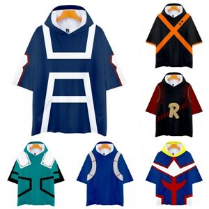 My Hero Academia Cosplay deku Izuku Bakugou Shoto Short Sleeve Hoodie T-Shirt