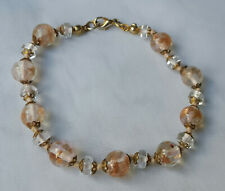 Vintage MURANO Pink GOLD Clear SOMMERSO Aventurine GLASS Bead BRACELET 20.5cm