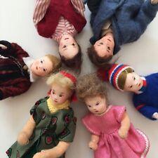 6x ALTE BIEGEPUPPE VINTAGE PUPPENHAUS_Banding Manikin Doll House