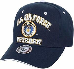 US Air Force Veteran Embroidered Baseball Cap Hat (Navy Blue)
